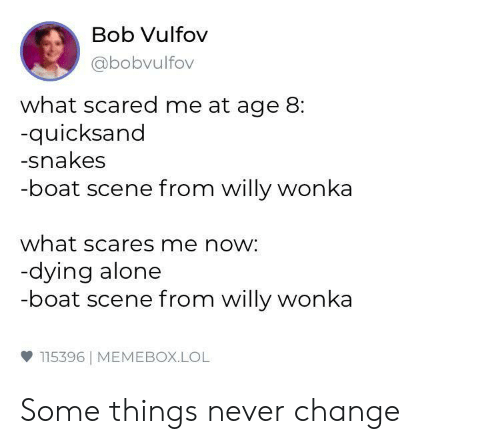 Being Alone, Lol, and Willy Wonka: Bob Vulfov  abobvulfov  what scared me at age 8:  quicksand  -snakes  -boat scene from willy wonka  what scares me now:  dying alone  -boat scene from willy wonka  ф 115396 | MEMEBOX.LOL Some things never change