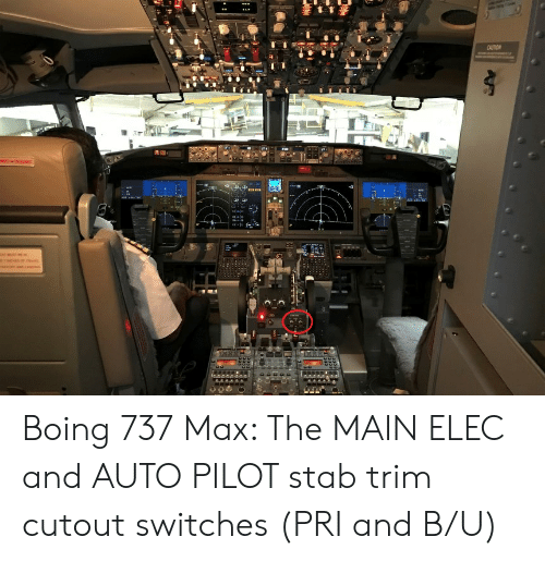 Boing 737 Max the MAIN ELEC and AUTO PILOT Stab Trim Cutout