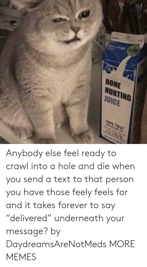 """Dank, Memes, and Target: BONE  HURTING  UICE Anybody else feel ready to crawl into a hole and die when you send a text to that person you have those feely feels for and it takes forever to say """"delivered"""" underneath your message? by DaydreamsAreNotMeds MORE MEMES"""
