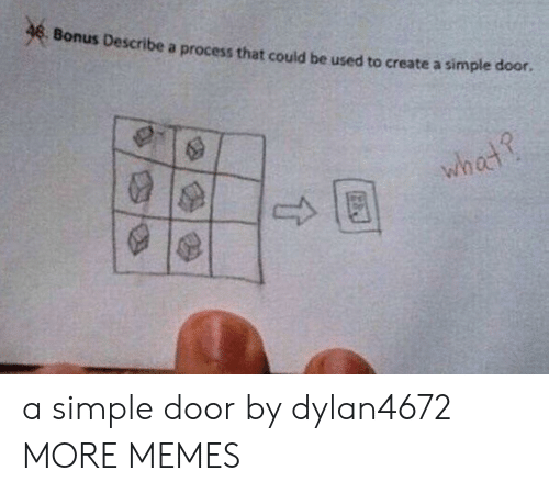 Dank, Memes, and Target: & Bonus Describe a process that could be used to create a simple  door  wh  ос a simple door by dylan4672 MORE MEMES