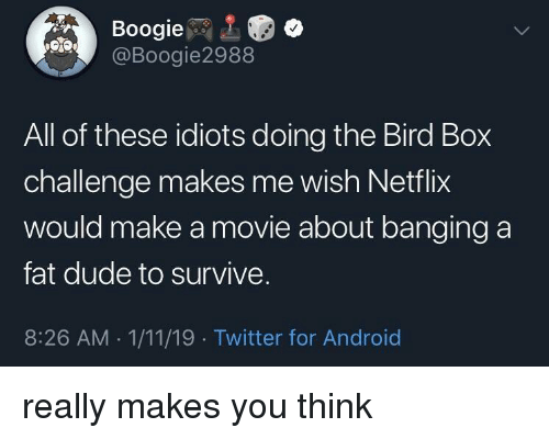 Android, Dude, and Netflix: Boogie  @Boogie2988  All of these idiots doing the Bird Box  challenge makes me wish Netflix  would make a movie about banging a  fat dude to survive.  8:26 AM 1/11/19 Twitter for Android really makes you think