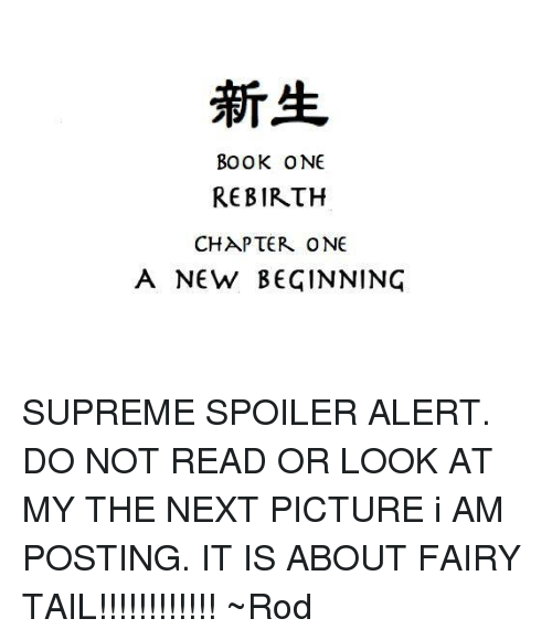 Book One Rebirth Chapter One A New Beginning Supreme Spoiler Alert