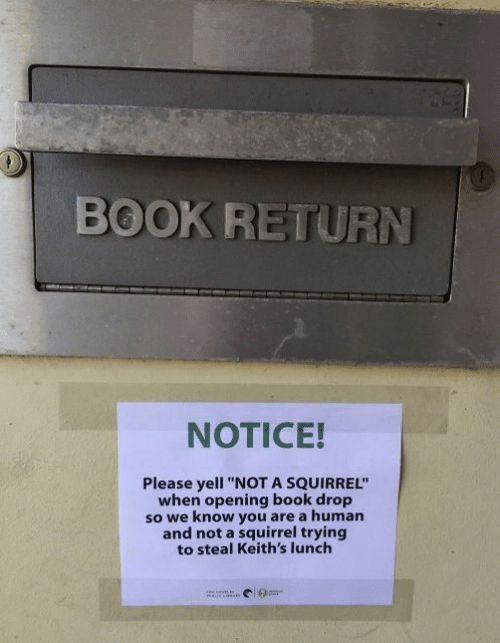 """Dank, Book, and Squirrel: BOOK RETURN  NOTICE!  Please yell """"NOT A SQUIRREL""""  when opening book drop  so we know you are a human  and not a squirrel trying  to steal Keith's lunch"""