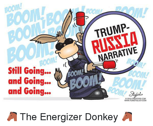 Donkey, Trump, and Boom: BOOM  BOOM  TRUMP-  BOOM  RUSSTA  NARRATIVE  BOOM!  oom  Still Going..  and Going..  and Going...  BOOM  oOL  BOOM!  タ2019 CREATCRS.CCM  WNW TOMSTIGLICH.COM