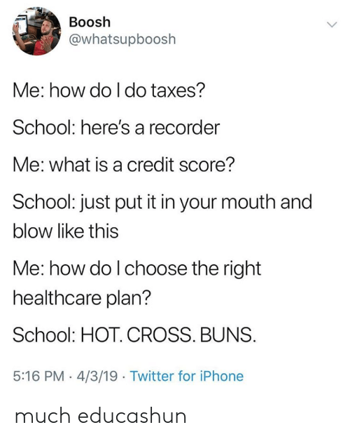 Iphone, School, and Twitter: Boosh  @whatsupboosh  Me: how do I do taxes?  School: here's a recorder  Me: what is a credit score?  School: just put it in your mouth and  blow like this  Me: how do l choose the right  healthcare plan?  School: HOT. CROSS. BUNS  5:16 PM 4/3/19 Twitter for iPhone much educashun