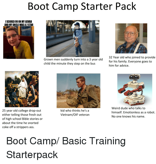 Advice Ass And College Boot Camp Starter Pack ISCORED 99 0N MY ASVAB