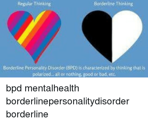 Borderline Thinking Regular Thinking Borderline Personality
