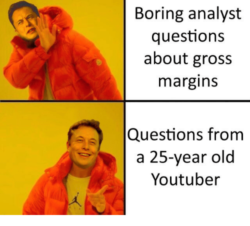 Old, 25 Year Old, and Youtuber: Boring analyst  questions  about gross  margin:S  Questions from  a 25-year old  Youtuber