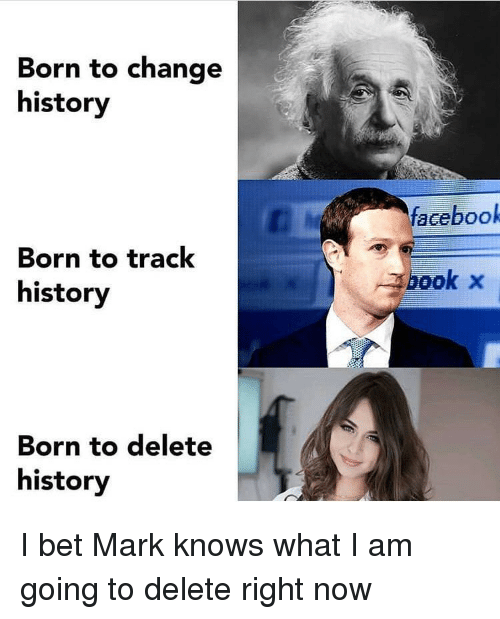 Facebook, I Bet, and Book: Born to change  history  facebook  Born to track  history  book x  Born to delete  history