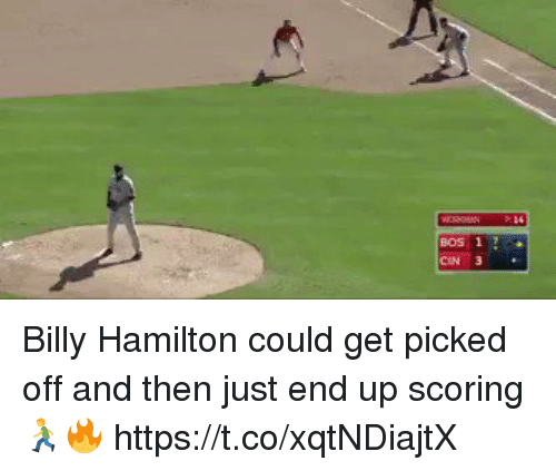 Memes, 🤖, and Hamilton: BOS 1 Billy Hamilton could get picked off and then just end up scoring 🏃‍♂️🔥 https://t.co/xqtNDiajtX
