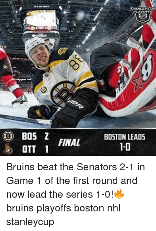Bos Z Final Ott 1 Boston Leads 10 Bruins Beat The Senators 2 1 In
