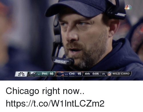 Chicago, Football, and Nfl: BOSE  97 PHI 16  124 CHI15 4th 0:05 :25 NFL WILD CARD Chicago right now.. https://t.co/W1lntLCZm2