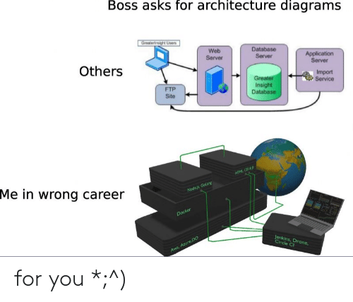 Drone, Programmer Humor, and Asks: Boss asks for architecture diagrams  Greatertnsigh Users  Web  Database  Application  Server  Server  Server  Others  Import  Service  Greater  Insight  Database  FTP  Site  HTML CSS&  Me in wrong career  Nodejs Golang  Docker  Jenkins, Drone,  Circle C  Aws, AzureDO for you *;^)