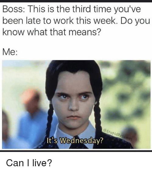 Funny, Work, and Live: Boss: This is the third time you've  been late to work this week. Do you  know what that means?  Me  estupidR  It's Wednesday? Can I live?