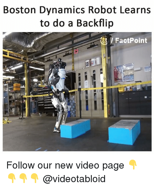 Memes, Boston, and Video: Boston Dynamics Robot Learns  to do a Backflip  / FactPoint Follow our new video page 👇👇👇👇 @videotabloid
