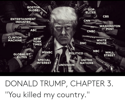 "Abc, cnn.com, and Donald Trump: BOSTON  GLOBE  GOP  ELITES  CBS  ENTERTAINMENT  INDUSTRY  CNN  WASHINGTON  POST  ABC  CNBC  CLINTON  MACHINE  NEW  YORK  TIMES  WHITE  HOUSE  DNC  NBC WALL  STREET  MSNBC  POLITICO  GLOBALIST  ELITES  SPECIAL  INTEREST  UNITED  NATIONS  UNIVISION  1 DONALD TRUMP, CHAPTER 3. ""You killed my country."""