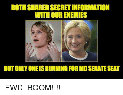 Information, Enemies, and Only One: BOTH SHARED SECRET INFORMATION  WITH OUR ENEMIES  BUT ONLY ONE IS RUNNING FOR MD SENATE SEAT FWD: BOOM!!!!