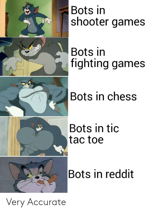 Reddit, Chess, and Games: Bots in  shooter games  Bots in  fighting games  Bots in chess  Bots in tic  tac toe  Bots in reddit Very Accurate