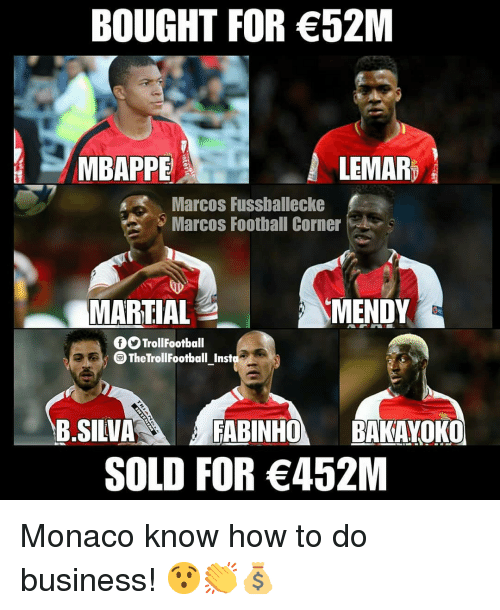 Football, Memes, and Business: BOUGHT FOR 52M  MBAPPE  LEMAR  Marcos Fussballecke  Marcos Football Corner  MARTIAL  MENDY  fOTrollFootball  The TrollFootball Inst  B.SILVAFABINHOBAKAYOKO  SOLD FOR 452M Monaco know how to do business! 😯👏💰