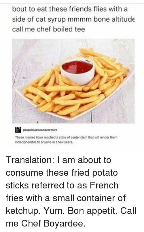 Friends, Memes, and Chef: bout to eat these friends flies with a  side of cat syrup mmmm bone altitude  call me chef boiled tee  proudblackconservative  These memes have reached a state of esotericism that will render them  indecipherable to anyone in a tew years Translation: I am about to consume these fried potato sticks referred to as French fries with a small container of ketchup. Yum. Bon appetít. Call me Chef Boyardee.