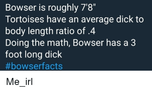 Bowser Is Roughly 7'8 Tortoises Have an Average Dick to Body