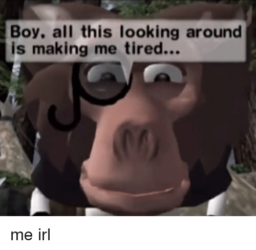 When You Get Tired Of Looking Around >> Boy All This Looking Around Is Making Me Tired Me Irl Irl Meme On