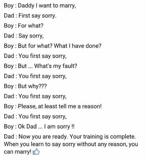 why to say sorry