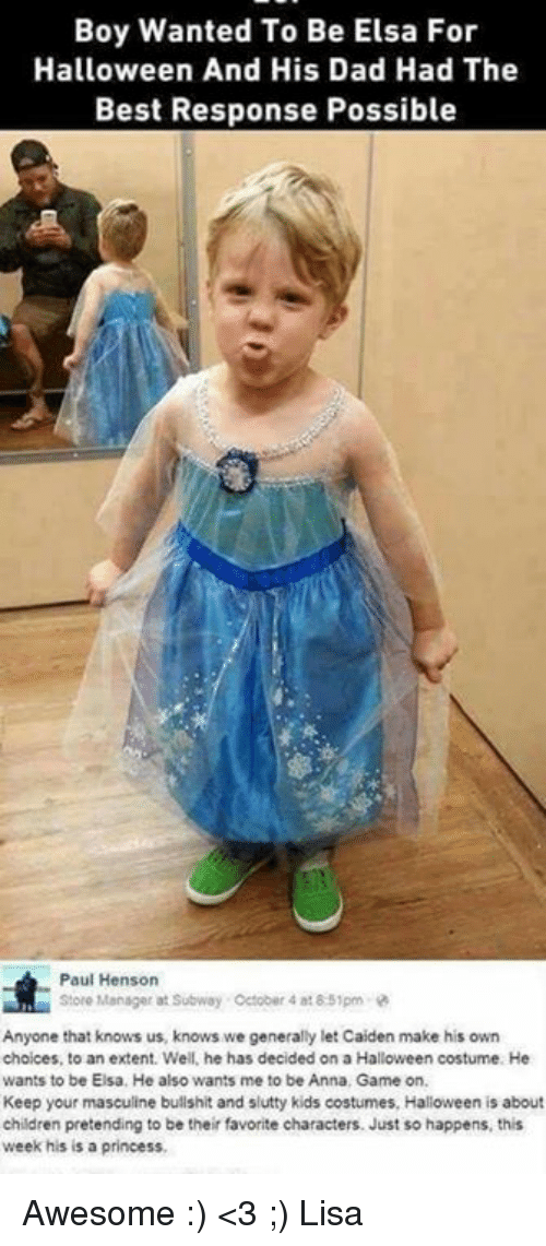 anna children and dad boy wanted to be elsa for halloween and his