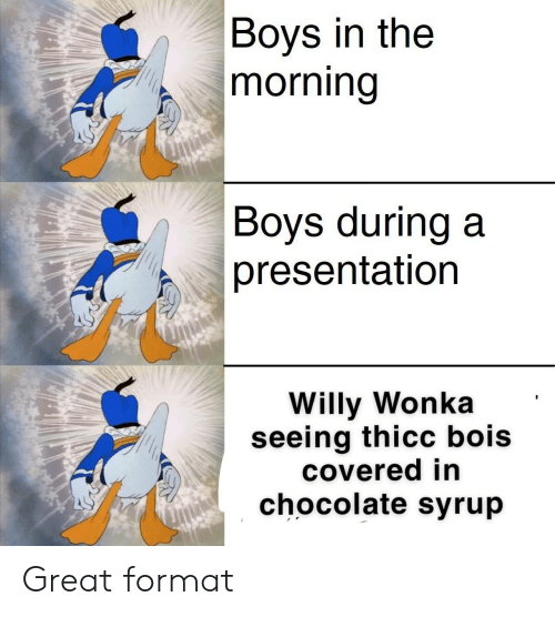 Willy Wonka, Chocolate, and Dank Memes: Boys in the  |morning  |Boys during a  presentation  Willy Wonka  seeing thicc bois  covered in  chocolate syrup Great format