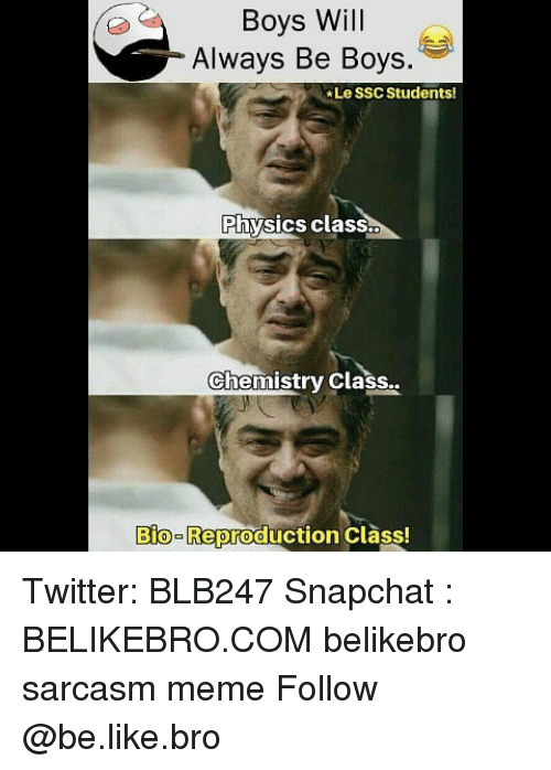 Be Like, Meme, and Memes: Boys Will  Always Be Boys.  Le SSC Students  Physics class.  Chemistry Class  Bio-Reproduction Class! Twitter: BLB247 Snapchat : BELIKEBRO.COM belikebro sarcasm meme Follow @be.like.bro