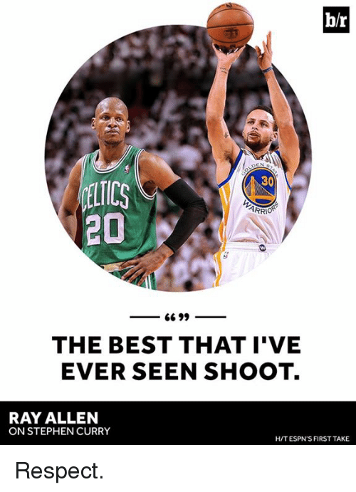 Respect, Stephen, and Stephen Curry: br  30  ARRIOR  20  66 99  THE BEST THAT I'VE  EVER SEEN SHOOT.  RAY ALLEN  ON STEPHEN CURRY  HIT ESPN'S FIRST TAKE Respect.