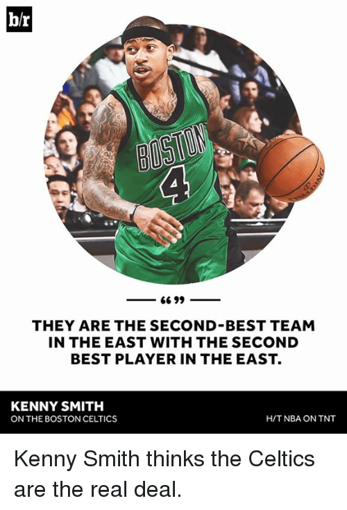 Boston Celtics, Nba, and Best: br  66 99  THEY ARE THE SECOND BEST TEAM  IN THE EAST WITH THE SECOND  BEST PLAYER IN THE EAST.  KENNY SMITH  H/T NBA ON TNT  ON THE BOSTON CELTICS Kenny Smith thinks the Celtics are the real deal.