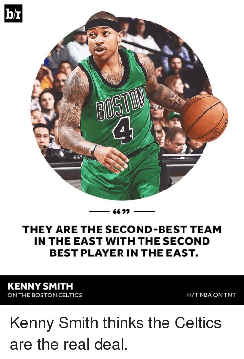 Sports, Tnt, and Player: br  6699  THEY ARE THE SECOND BEST TEAM  IN THE EAST WITH THE SECOND  BEST PLAYER IN THE EAST.  KENNY SMITH  H/T NBA ON TNT  ON THE BOSTON CELTICS Kenny Smith thinks the Celtics are the real deal.
