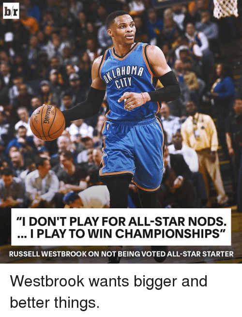 """All Star, Russell Westbrook, and Sports: br  HOMA  CITY  """"I DON'T PLAY FOR ALL-STAR NODS.  I PLAY TO WIN CHAMPIONSHIPS""""  RUSSELL WESTBROOK ON NOT BEIN (GVOTED ALL-STAR STARTER Westbrook wants bigger and better things."""
