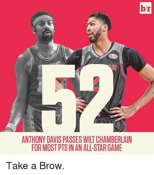 All Star, Anthony Davis, and Game: br  KIA  ANTHONY DAVIS PASSES WILT CHAMBERLAIN  FOR MOST PTS IN AN ALL-STAR GAME Take a Brow.