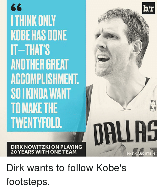 Dirk Nowitzki, Sports, and Kobe: br  THINK ONLY  KOBE HAS DONE  IT-THATS  ANOTHER GREAT  ACCOMPLISHMENT  SOIKINDAWANT  TO MAKE THE  TWENTY FOLD  DALLAS  DIRK NOWITZKI ON PLAYING  20 YEARS WITH ONE TEAM  HIT MARC STEIN Dirk wants to follow Kobe's footsteps.