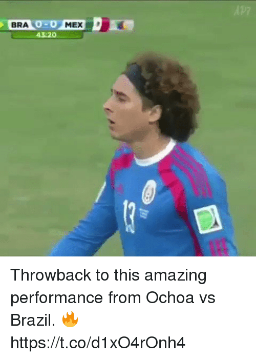 Soccer, Brazil, and Amazing: BRA 0-0 MEX  43:20 Throwback to this amazing performance from Ochoa vs Brazil. 🔥  https://t.co/d1xO4rOnh4