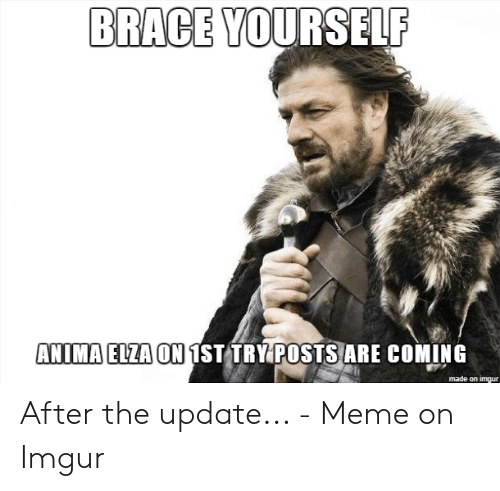 d01bf8526ca Meme, Imgur, and Brace Yourself: BRACE YOURSELF ANIMA ELZA ON 1ST  TRYPOSTSARE COMING