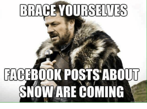 Memes Braces And Brace Yourselves Brace Yourselves Facebook Posts About Snow Are Coming