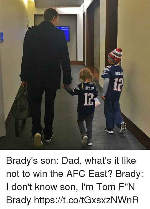 Dad, Memes, and Afc East: BRAD  BRADY Brady's son: Dad, what's it like not to win the AFC East?   Brady: I don't know son, I'm Tom F''N Brady https://t.co/tGxsxzNWnR