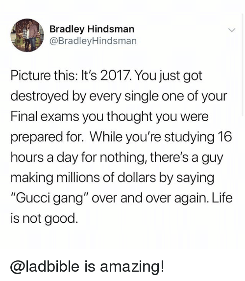 "Funny, Gucci, and Life: Bradley Hindsman  @BradleyHindsman  Picture this: It's 2017. You just got  destroyed by every single one of your  Final exams you thought you were  prepared for. While you're studying 16  hours a day for nothing, there's a guy  making millions of dollars by saying  ""Gucci gang"" over and over again. Life  is not good. @ladbible is amazing!"