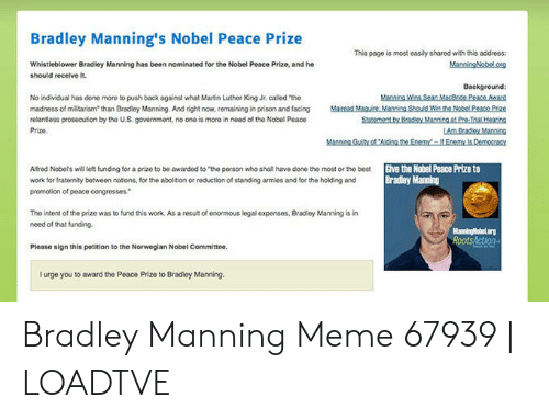 Bradley Manning's Nobel Peace Prize This Page Is Most Easily