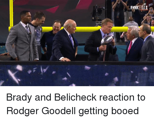 Funny,  Rodgers, and Bradying: Brady and Belicheck reaction to Rodger Goodell getting booed