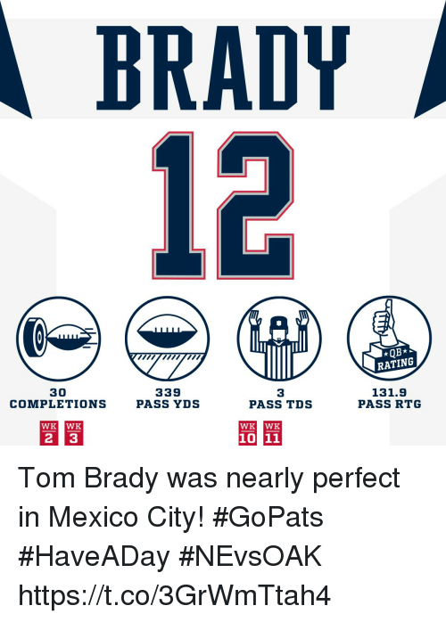 Memes, Tom Brady, and Mexico: BRADY  RATING  30  COMPLETIONS  339  PASS YDS  3  PASS TDS  131.9  PASS RTG  WK WK  WK WK Tom Brady was nearly perfect in Mexico City! #GoPats  #HaveADay #NEvsOAK https://t.co/3GrWmTtah4