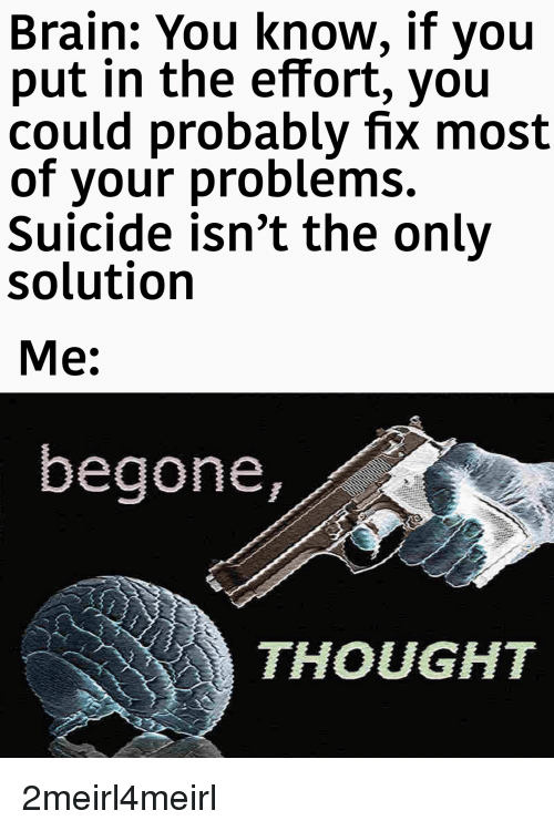 Brain, Suicide, and Thought: Brain: You know, if you  put in the effort, you  could probably fix most  of your problems.  Suicide isn't the only  solution  Me:  begone,  THOUGHT