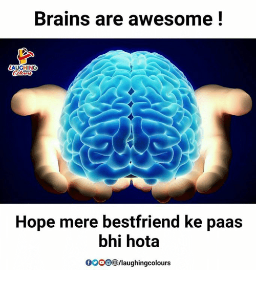Brains, Gooo, and Awesome: Brains are awesome!  LAUGHING  Hope mere bestfriend ke paas  bhi hota  GOOO@/laughingcolours