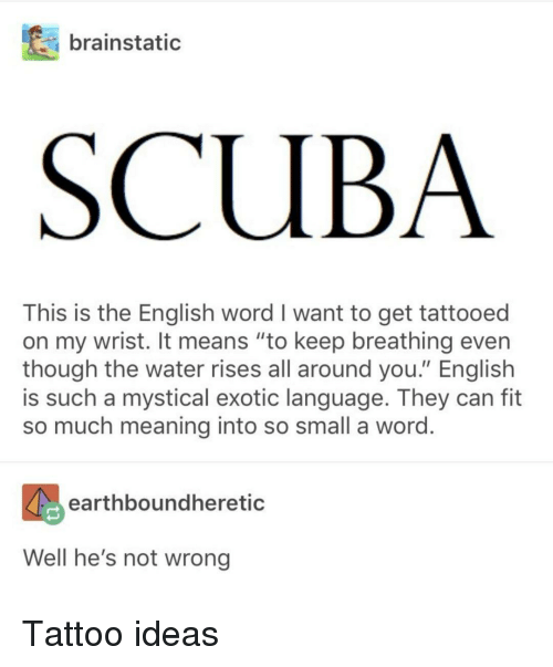 """Meaning, Tattoo, and Water: brainstatic  SCUBA  This is the English word I want to get tattooed  on my wrist. It means """"to keep breathing even  though the water rises all around you."""" English  is such a mystical exotic language. They can fit  so much meaning into so small a word  earthboundheretic  Well he's not wrong Tattoo ideas"""