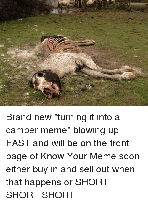 "Meme, Soon..., and Horse: Brand new ""turning it into a camper meme"" blowing up FAST and will be on the front page of Know Your Meme soon either buy in and sell out when that happens or SHORT SHORT SHORT"