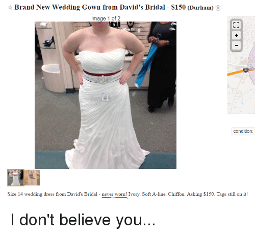 Dress Dresses And Image Brand New Wedding Gown From Davids Bridal S150 Durhamo