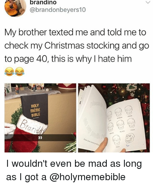 Asian, Christmas, and Meme: brandino  @brandonbeyers10  My brother texted me and told me to  check my Christmas stocking and go  to page 40, this is why I hate him  HOLY  mEme  BIBLE  ASIAN  BLACK ‪I wouldn't even be mad as long as I got a @holymemebible